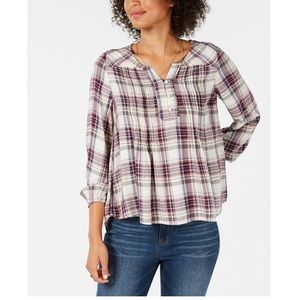 Style & Co Petite Plaid Pleated Blouse Size PM